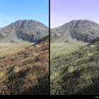 Herbstfarben, rechts für Grün-Rot-Farbfehlsichtige