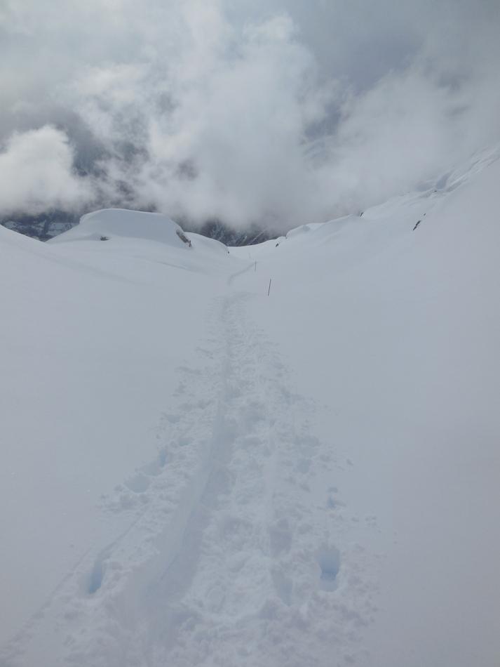 11.2.: Blick zurück auf die Spuren im frischen Schnee
