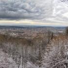 4.2.: Blick vom verschneiten Uto Kulm über die Stadt Zürich