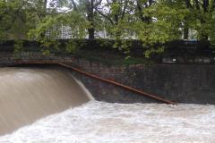 30.8.: Sihl-Hochwasser beim Sihlhölzli/Bahntunnel – mit neuer Biberrampe